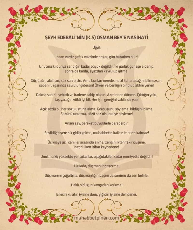 Şeyh Edebâli'nin Osman Gazi'ye Nasihatı